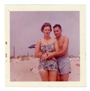 Couple at Beach Bathing Suit Swim Trunks Affectionate 1960 Vintage Photo