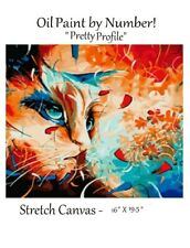 "1 KIT - Paint By Number Oil Paint Abstract Cat   ""Pretty Profile"" (no frame)"
