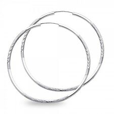 14k White Gold Big Round Endless Hoop Earrings Diamond Cut Satin Polished Solid