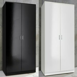 2 Door Double Wardrobe White Black Large Storage Wardrobes Bedroom Furniture