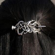 Antique Silver Vikings Dragon Hairpins Hair Clips Stick Slide Vintage Women Hair