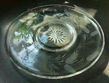 """Crystal plate, large cut glass serving, 13 """" wheat, possibly Seneca, flawless"""