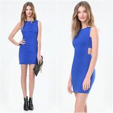 BEBE BLUE SARAH TWILL SIDE BAND DRESS NEW NWT $129 SMALL S 6