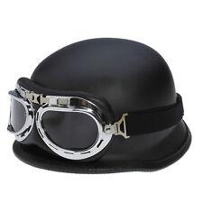 Adult Motorcycle Cruiser Vintage WWII Half Helmet Matte Flat BLACK + Goggles