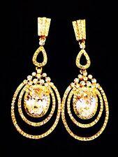 USA EARRING Using Swarovski Crystal Gemstone Gold Fancy Wedding Bridal Party CZ