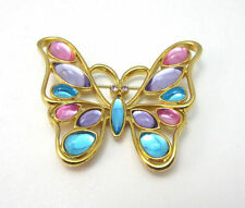 GOLD TONE TRIFARI PURPLE BLUE PINK BEJEWELED BUTTERFLY BROOCH PIN **
