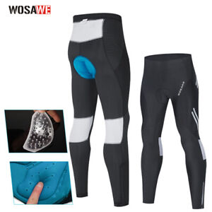Men's Compression Cycling Tights Gel Padded Cooling MTB Bike Riding Long Pants