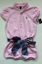 Ralph Lauren Girls Romper Shortall Pink Plaid Scarf Belt Size 18 Months Nwt
