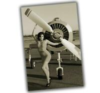 Retro Vintage Aircraft Pinup Sexy Girl Pilot woman Military War Photo WW2 4x6 S