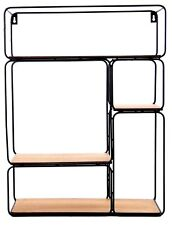 Single Black Coated Metal Wall Shelf Display Organizer Multi Storage Cabinet