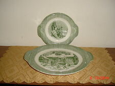 "2-PC ROYAL CHINA HANDLED ""PLATTERS"" VINTAGE/WINTER SCENE/GRN-WHT/FREE SHIP!"