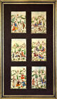 Group of 6 Miniature Persian Story Paintings on Camel Bone - Signed - Gilt Frame