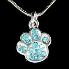w Swarovski Crystal Dog KITTY CAT Kitten Pawprint Paw Print Pendant Necklace New