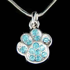 w Swarovski Crystal Dog KITTY CAT Kitten Pawprint Paw Print Pendant Necklace New