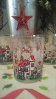4 VINTAGE VICTORIAN VILLAGE SCENE LIBBEY XMAS DRINKING GLASSES DOF ON THE ROCKS