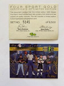 1992 Classic Four 4 Sport GOLD Set, #5141/9500 SHAQUILLE O'NEAL AUTO SHAQ, JETER