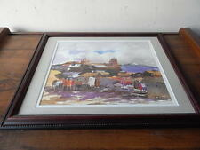 VINTAGE SIGNED BENITO HUILLCAHUAMAN FRAMED WATERCOLOR PAINTING LIMA PERU VILLAGE