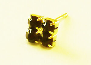 Mens Earrings Gold Plated Black Four Stones 6mm