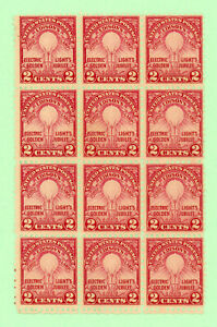 USA 12 stamp  block,  SC 655, Edison's First Lamp,1929, MNH