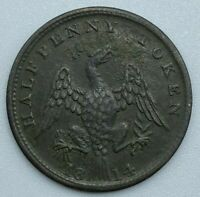 1814 Half Penny Canada Colonial Token LC54C1 Charlton Cat #  MP180