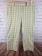 LOFT Womens Pants Size 12 Green (avacado) Plaid Ankle Length