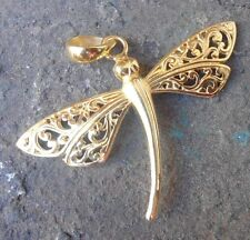 925 Sterling Silver-Dragonfly Pendant Balinese Carved & 22kt Gold Plated
