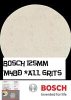 Bosch Random Orbit Sanding Discs  M480 Net Wood+Paint 125mm  Pk 5 ALL GRITS
