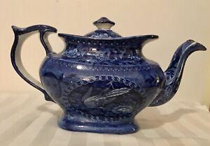Antique Flow Blue Teapot With Bird Eggs + Sugar