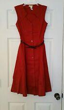 NEW Modcloth Knack for Numbers Shirt Dress S Rust Orange Midi Retro Yellow Star