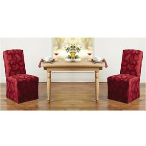 2 Brand New WINE Autumn Medley Damask Chair Covers for Dining Room Chairs