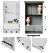 Wooden Vintage Shelf Unit With Storage Drawer 3 Key Hooks Wall Mounted Display