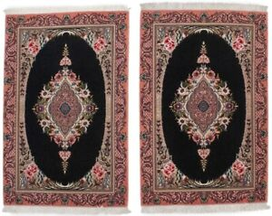 Pair of Black Small Classic Floral 2X3 Extra Fine Handmade Oriental Rugs Carpet