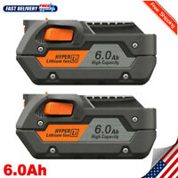 2 Pack 18Volt Hyper Lithium-ion Battery for Ridgid R840087 R840085 R840084 6.0Ah