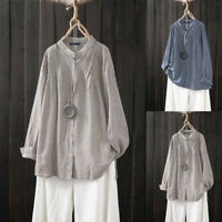 Plus M-5XL Women's Long Sleeve Buttons Down Stand Collar Blouse Shirt Tops Plus