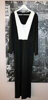 BCBGMAXAZRIA Brand Black White Chiffon Long Sleeve Jumpsuit Size 10 #AN02