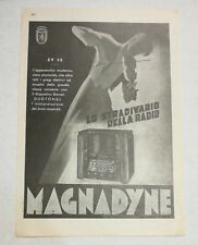 Pubblicità 1937 RADIO MAGNADYNE SV13  advertising publicitè reklame publicité