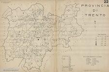 Provincia Trento:Tutti i Comuni nel 1938,Carta Topografica.Anno XVI Era Fascista