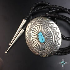 Large stampwork sterling silver .925 turquoise bolo tie Vintage Navajo old pawn