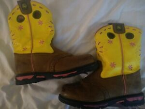 John Deere girls Youth Boots yellow,pink & Tan Pull On Size 4 1/2