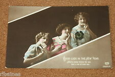Vintage Postcard: Good Luck in the New Year Greeting, Edwardian Women, Horseshoe