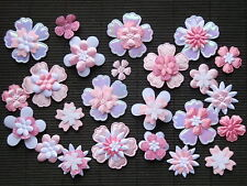 60 Fabric FLOWERS PINK & WHITE FFE5PW  for HAIR ACCESSORIES, Cards, Scrapbooks