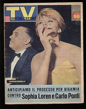 SORRISI 11/1962 LOREN PONTI EUROFESTIVAL SINATRA CAN CAN VERGANO ROSALIE DUBOIS