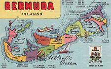 Postcard Bermuda Islands Map
