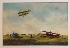 VINTAGE AIRPLANES TAKE FLIGHT by K. HERMANN OIL ON CANVAS AUSTRIAN MASTERPIECE