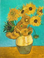 Hand Painted Vincent Van Gogh Twelve Sunflowers Reproduction On Stretched Canvas