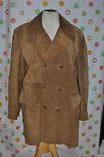 vintage ROBERT LEWIS Men`s 44 Brown Suede leather WOOL liner RANCH DRESS COAT
