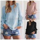 Zanzea 2017 Women Vintage Long Sleeve Ruffled Flounce Tops Casual Shirt Blouse