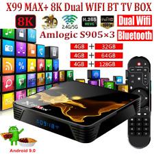 X99 MAX+ 8K 32G/64G/128G Android 9.0 TV Box S905X3 Quad Core BT 5G WiFi HD Media