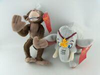 SET of 2 x The King and I Bean Bag Plush Toys, Tusker Elephant, Moonshee Monkey
