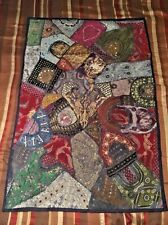 """Indian Hand-Embroidered Blue Multicolor Tapestry 38"""" x 58"""""""